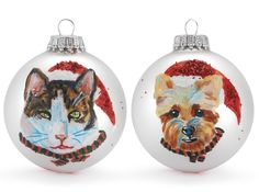 Hand painted, custom made holiday ornaments by Debbie Sampson (submit a pic of your pet and she'll paint it onto the ornament.  On sale w/ free shipping @Coupaw