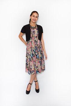 ITY Print Midi Sleeveless Swing Dress with Short-Sleeve Bolero Shrug $64.99
