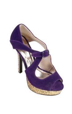 velvet peep toe pump with glitter platform and heel $35.50