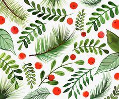 Margaret Berg Art: Berries, Holly & Pine