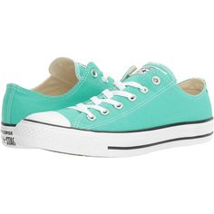 Converse Chuck Taylor All Star Seasonal OX (Menta) Athletic Shoes ($40) ❤ liked on Polyvore featuring shoes, green, green shoes, laced shoes, laced up shoes, star shoes and metallic shoes