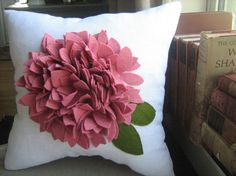 Pink and White Hydrangea Pillow