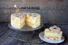 as minca o felie de tort diplomat zice petruta dinu Romanian Food, Hungarian Recipes, Yams, Vanilla Cake, Sweet Treats, Mousse, Cheesecake, Food And Drink, Caramel