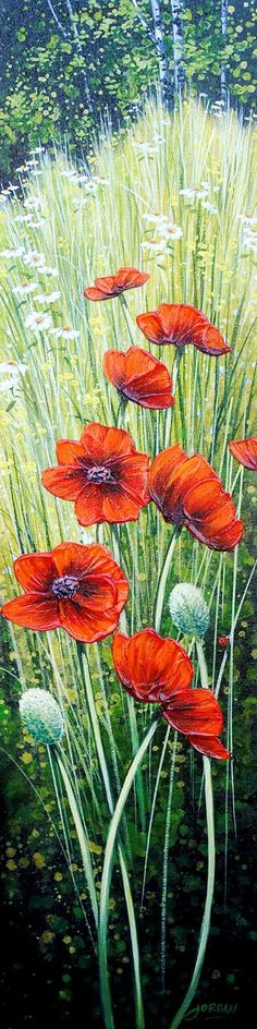 """Poppy Petals IV""Acrylic on Canvas, 24x6"" by Jordan Hicks at Crescent Hill Gallery in Missisauga, ON"