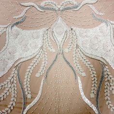 White with Pearls Abstract Embroidered Tulle