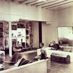 Conversationpit at Alexander Girard's Home in Santa fe with His Wife Susan, c1960. Photo by Charles Eames