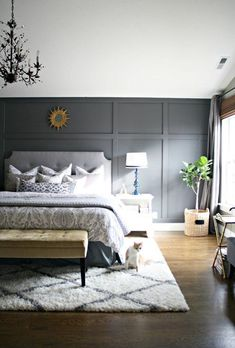 How To Choose Accent Wall Bedroom. One Accent Wall Bedroom. Painting An Accent Wall Bedroom. Accent Wall Ideas For Bedroom. Wallpaper For Accent Wall Bedroom. Small Master Bedroom, Master Bedroom Design, Home Decor Bedroom, Bedroom Designs, Master Bedrooms, Rug For Bedroom, Master Bedroom Wood Wall, Cozy Master Bedroom Ideas, Diy Bedroom