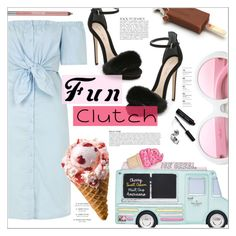 """Fun Clutch: Ice Cream Truck"" by chocohearts08 ❤ liked on Polyvore featuring Topshop, Monique Lhuillier, ZeroUV, Anja, Bobbi Brown Cosmetics, Urban Decay, clutches, katespade, topshop and MoniqueLhuillier"
