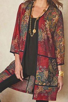 Long Blouse, Long Cardigan, Bohemian Print, Bohemian Style, Cute Crop Tops, Cardigan Fashion, Mi Long, Couture, Kimonos