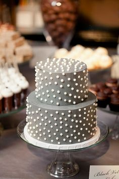 Small Grey with White Polka Dots Wedding Cake