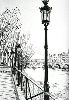 landscape drawings Street Lamps In Paris Drawing by Janice . Landscape Pencil Drawings, Landscape Sketch, Pencil Art Drawings, City Landscape, Art Drawings Sketches, Fantasy Landscape, Easy Drawings, Landscape Lighting, Pencil Sketches Architecture