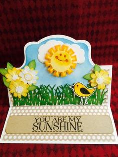 Sizzix Royal Stand-up Card Die Sizzix Triplets Hello Sunshine Dies Sizzix Royal Labels Dies Sizzix Flower & Fence Stamp Set Grass Die Sizzix Birds & Tree Stamp Set TSOL Feb 2016 Card Kit (stamp & paper)