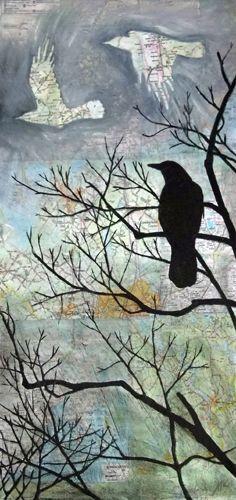 March Light - Maine artist Maya Kuvaja's stirring mixed media art draws the viewer into a dreamlike world.