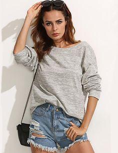 Mulheres Camiseta Casual Moda de Rua Primavera / Outono,Sólido Cinza Algodão Decote Redondo Manga Longa Média de 5241879 2016 por $12.99