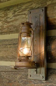 """CONVERTED to ELECTRIC! Lamp for outdoor lighting...love it! Perfect Lol...I have about 15 mis-matched old lanterns in my stack of """"ohhhh....I can do something with that one day"""" http://shed....my husbands will be happy not to have I have a use for some and it will be less he has to worry about breaking!"""
