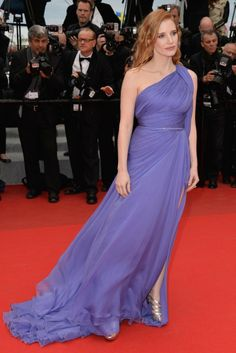 Jessica Chastain in a flowing lilac Elie Saab Couture gown with metallic sandals