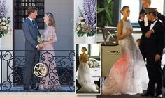 Italian socialite Beatrice Borromeo wears pink and gold lace dress by Valentino to wed Pierre Casiraghi, son of Princess Caroline, and grandson of Grace Kelly, in a civil wedding in Monaco. She changed into a Valentino couture dress in white tulle with silver embroidered clouds for the evening party at Hotel de Paris in Monte Carlo.