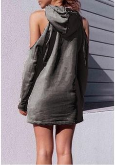 053c15b44161 Grey Letter Cut Out Drawstring Hooded Casual Pullover Sweatshirt. Fashion  WearWomens FashionCute OutfitsCasual ...