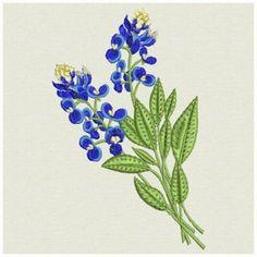 Bluebonnets embroidery design