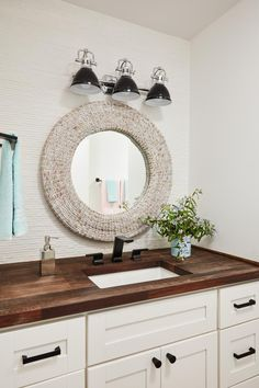 Get inspired by Coastal Bathroom Design photo by HGTV Dream Home Wayfair lets you find the designer products in the photo and get ideas from thousands of other Coastal Bathroom Design photos. Coastal Bathrooms, Upstairs Bathrooms, Downstairs Bathroom, Bathroom Renos, Wood Counter Bathroom, Cottage Bathrooms, Bathroom Taps, Marble Bathrooms, Beach Bathrooms