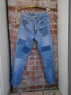 Vintage 70s High Waisted LEVIS Patch Patchwork Jeans Resized / Redone Skinny Crop Ankle by trash5thave