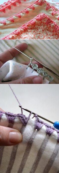 Отделка ткани с помощью вязального крючка / Вязание крючком / Вязаные крючком аксессуары
