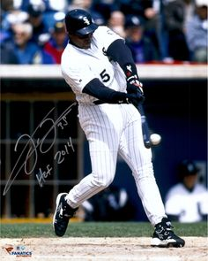 """Frank Thomas Chicago White Sox Autographed 16"""" x 20"""" Hit Ball Photograph with HOF 2014 Inscription"""