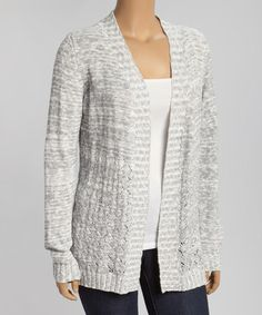 Look what I found on #zulily! Gray Pointelle Open Cardigan - Plus by Belldini #zulilyfinds