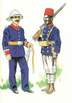 GUARDIA CIVIL DE LOS TERRITORIOS DEL GOLFO DE GUINEA.1907 Capitan en uniforme de diario - Guardia indigena en uniforme de formación