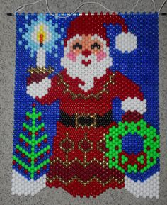 Handmade Hand Beaded Santa's Candelight  Beaded Banner with Nylon Cord