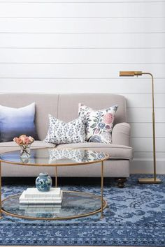 The picture of coffee table perfection, Margaux is transitional and sophisticated.With it's practical tiers and glass tops, it's as easy to style as it is to keep clean! | Caitlin Wilson