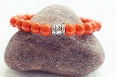 Orange Beaded Bracelet | Wood Bead Bracelet | Mens Elastic Bracelet  Simple Mens Bracelet Handmade Bracelets, Bracelets For Men, Beaded Bracelets, Bracelet Designs, My Etsy Shop, Orange, Beads, Gifts, Jewelry