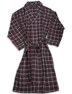 Men s Plaid Flannel Robe in Red Black White e01f192ce