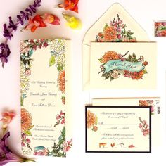 Floral Watercolor Wedding Invitation #santaynezwedding #santabarbarawedding