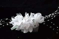 White sheer flowers with pearl like centres. Accented with pearl like sprays and white sparkly ribbon. Sprays, Hair Comb, Special Occasion, Ribbon, Pearls, Trending Outfits, Unique Jewelry, Handmade Gifts, Flowers