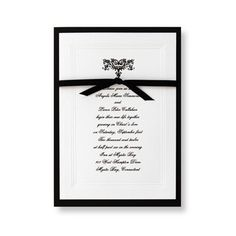 Renaissance Wedding Invitations - This multi-layer invitation features a White, triple-bevel, Black hand-bordered card imprinted with your invitation wording and elegant filigree motif in the raised ink color of your choice. Underneath is a backer tied together witha ribbon. Accessory cards feature the motif, triple bevel and Black border.