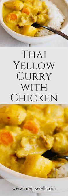 Thai Yellow Curry with Chicken is the ultimate comfort food. Yukon gold potatoes, pearl onions, sliced carrots, and bite-sized pieces of chicken soak up all the wonderful creaminess of curry, coconut cream, and coconut milk, making each bite heaven. | www