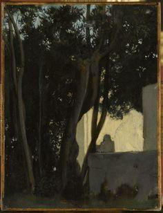 Fontaine dans les lauriers. Rome, jardins de la Villa Medicis, Jean Jacques Henner (1829-1905)