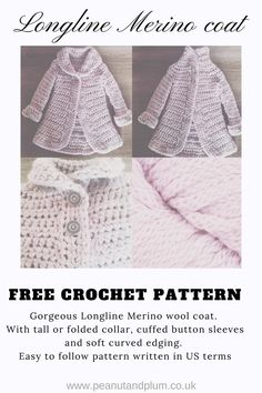 Longline Merino Wool Coat – Free Crochet Pattern – Peanut and Plum - http://www.peanutandplum.co.uk/2017/09/longline-merino-wool-coat-free-crochet-pattern/