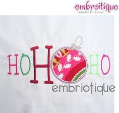 Ho Ho Ho Applique - 3 Sizes! | Christmas | Machine Embroidery Designs | SWAKembroidery.com Embroitique
