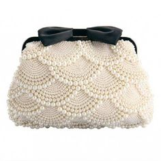 Ethel Handmade Women Beading Evening Bags Beige Pearls with Black Bow Bridal Clutch Purse Chain Crossbody Bag Sacs Bolsas Beaded Purses, Beaded Bags, Pearl And Lace, Vintage Purses, Vintage Hats, Beautiful Bags, Clutch Purse, Crossbody Bag, Beaded Embroidery