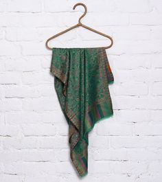 8bfc5a4dc506b #Green Self Woven #Silk Blend Shawl by #Vuala Royale at #Indianroots Was