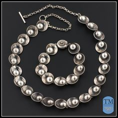 Mid Century Modernist Sterling Silver Necklace & Bracelet Set by N.E. From of Denmark