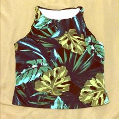 Tropical Print Crop Top Awesome fitting crop!  In perfect condition, never been worn!  95% cotton, 5% elastane. American Apparel Tops Crop Tops