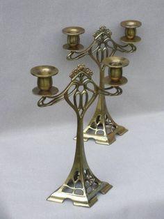 Online veilinghuis Catawiki: Paar bronzen kandelaars in Art Nouveau stijl - 21e eeuw