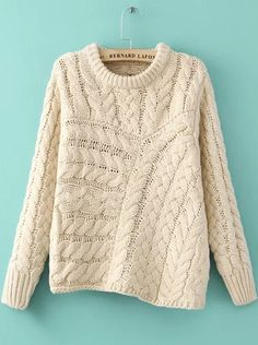 Beige Long Sleeve Asymmetrical Cable Knit Sweater pictures