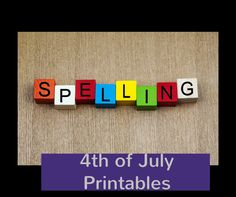 4th of July Free Printable Spelling Letters