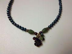 Peyote Bird 925 Black Flower Pearl & Gemstone Beads necklace 18 inches long  12g #PeyoteBird