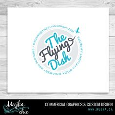 The flying dish logo. Private jet catering company , food stickers.  www.mujka.ca