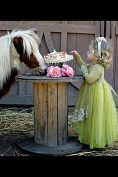Tea Party with a mini horse and little girl.